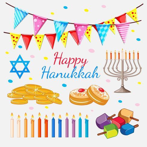 Feliz Hannukkah tema com moedas de ouro e velas