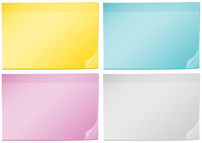 Vier Hintergrundvorlagen mit verschiedenen Farbpapieren