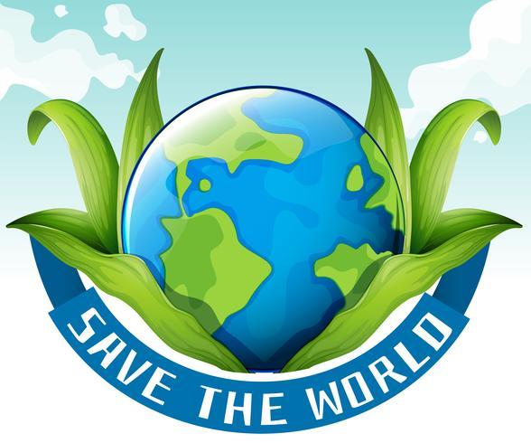Salvar el tema del mundo con tierra y hojas.