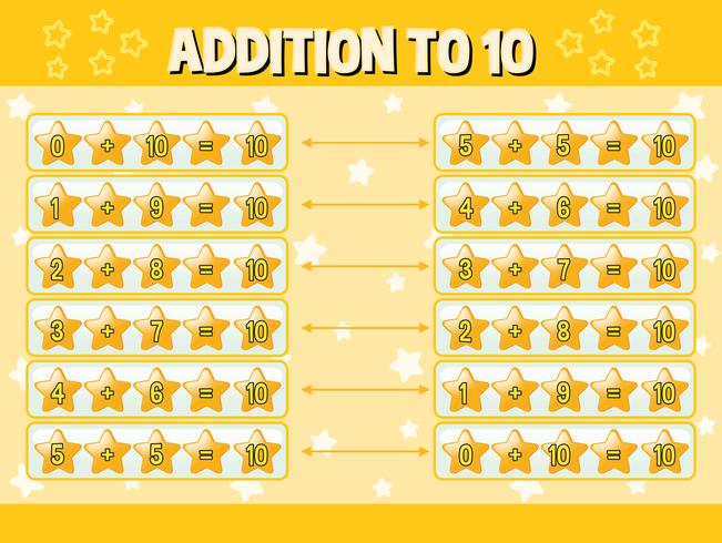 Addition to ten with yellow stars vector