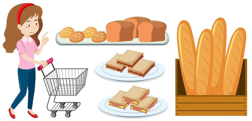 Mulher, com, carrinho de compras, e, pão