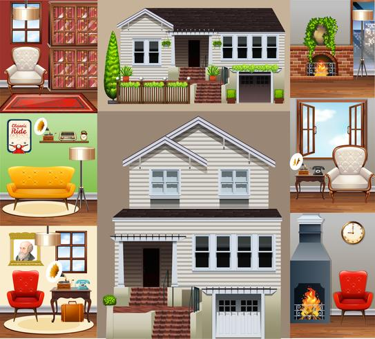 Casa e quartos na casa