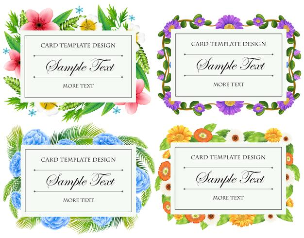 Card template design with flower borders