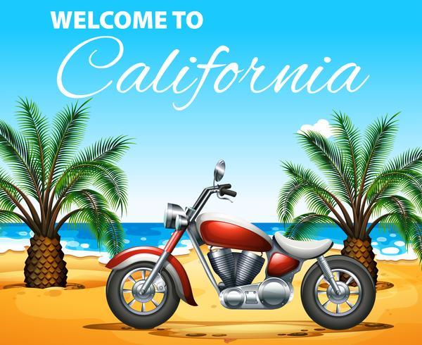 Welkom bij California posterontwerp met motorfiets op het strand