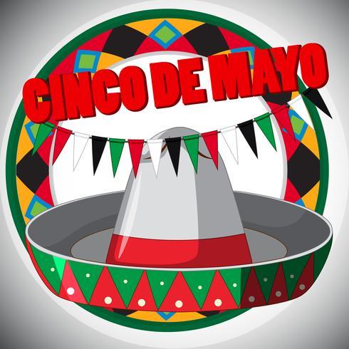 Modelo de cartão Cinco de Mayo com chapéu e bandeiras