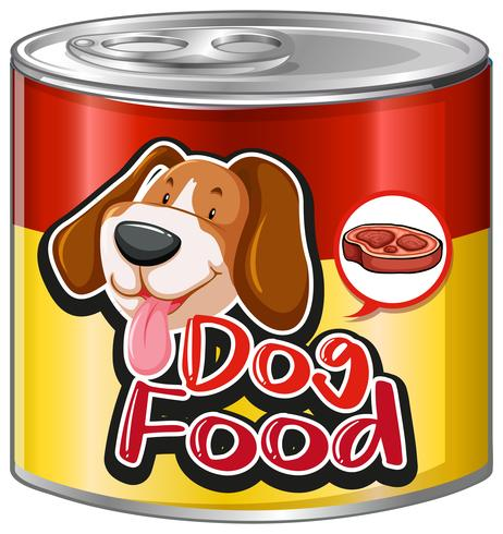 Dog food in aluminum can with cute dog on label