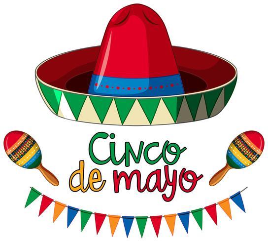 Cinco de mayo kaartsjabloon met rode hoed en kleurrijke vlaggen