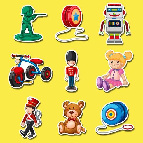 Adesivo definido com brinquedos em fundo amarelo