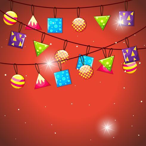 Vlaggen en ballen decoratie hangen