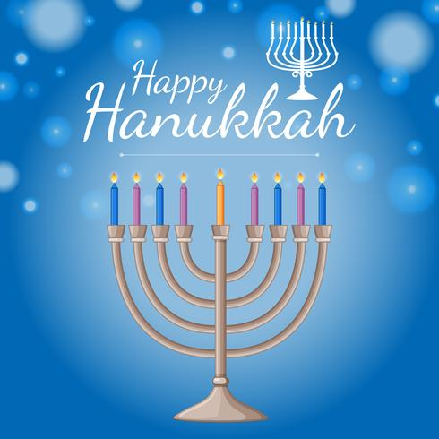 Card template for happy haukkah festival with blue candles