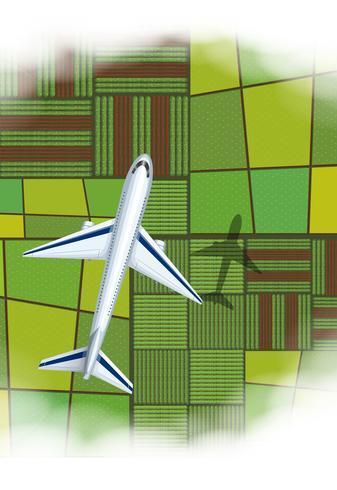 Aeroplano che sorvola il terreno coltivabile
