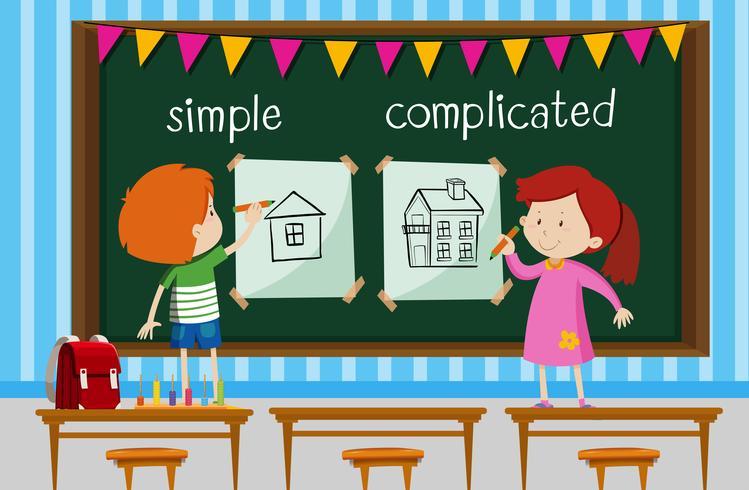 Palabras opuestas con niños dibujando casas simples y complicadas.