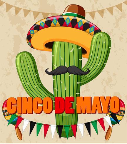 Design de cartaz de cinco de Mayo com cacto com chapéu