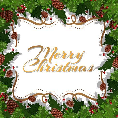 Cartolina di Natale con pigne e foglie