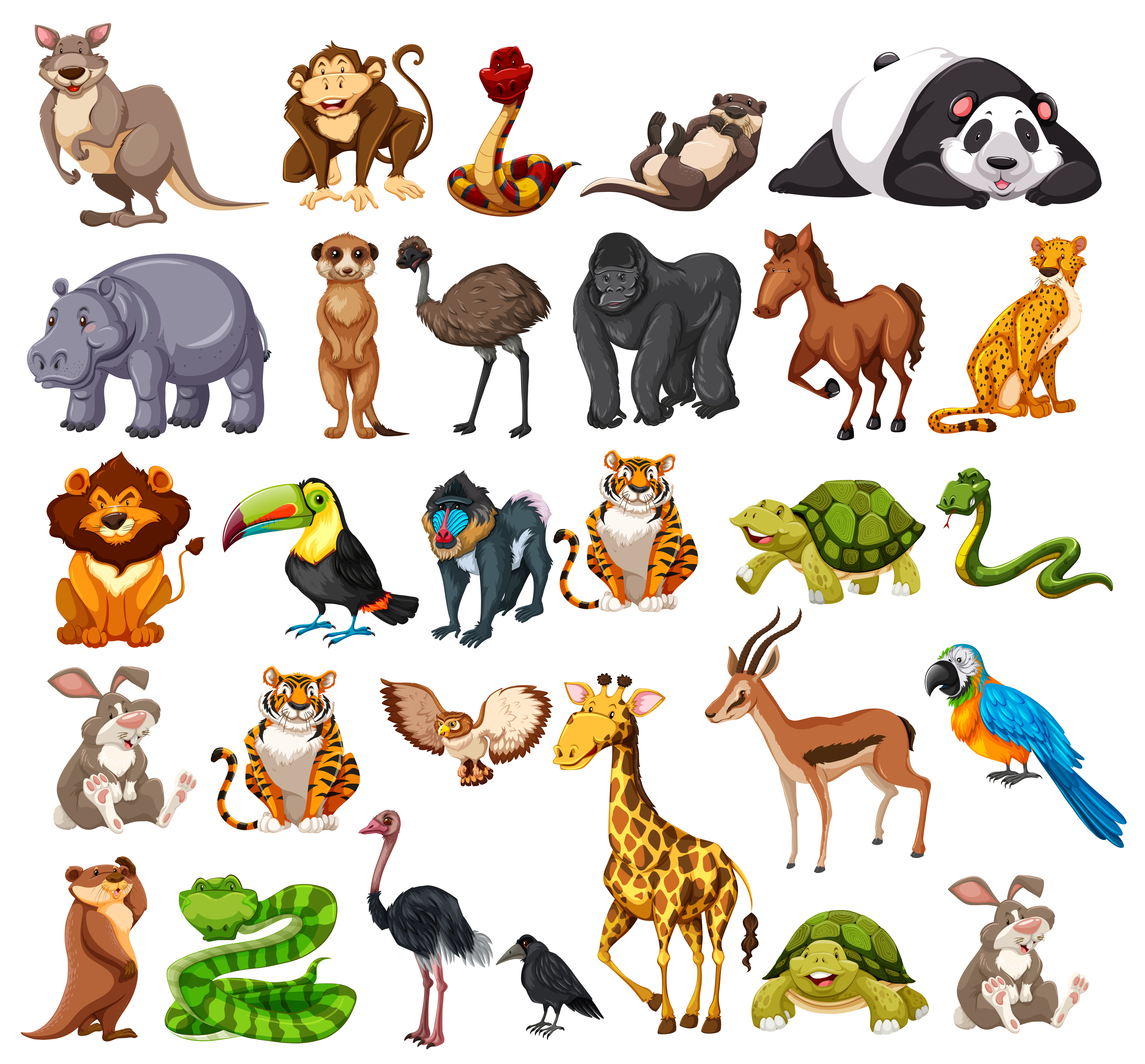 animals different types wild animal vector animales vectors premium cartoon illustration mammals type many monkey clipart dia giraffe african kinds