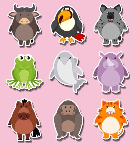 Sticker design with cute animal characters