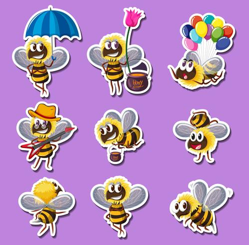 Disegno dell'autoadesivo per l'ape in diverse azioni