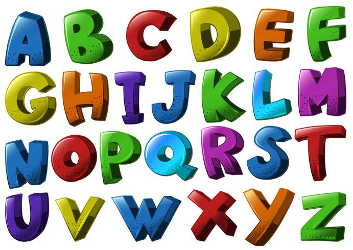 English alphabet fonts in different colors - Download Free Vectors ...