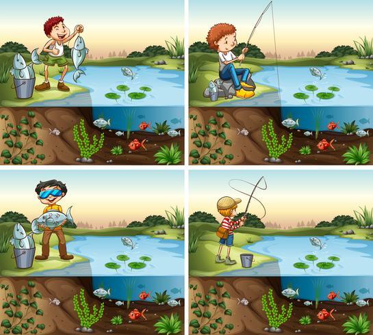 Quatro cenas de menino pescando na lagoa