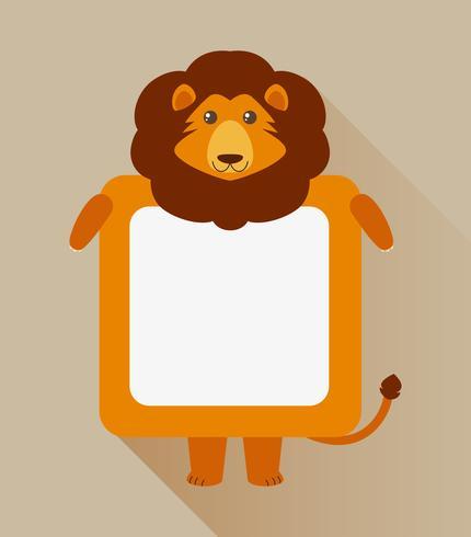 Design de moldura com caráter de leão