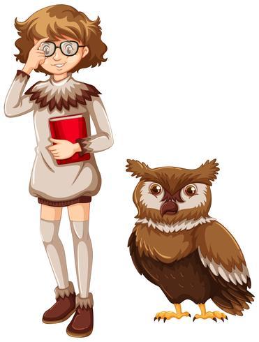 Mulher e coruja marrom no fundo branco