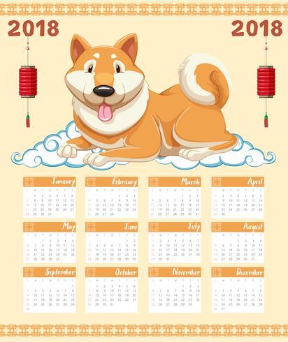 Plantilla de calendario 2018 con perro lindo