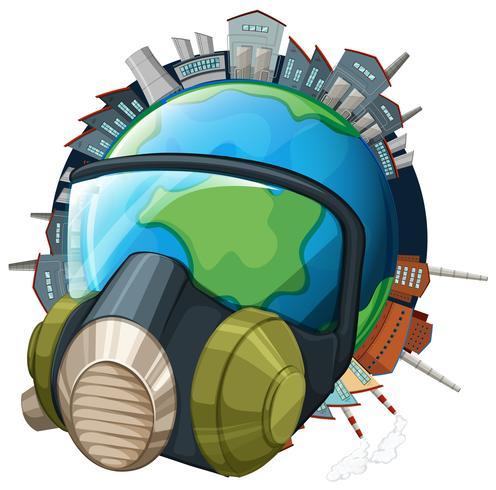 Milieuthema met aarde die masker draagt