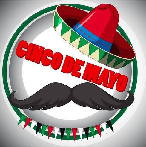 Affiche Cinco de Mayo avec moustache et chapeau vecteur
