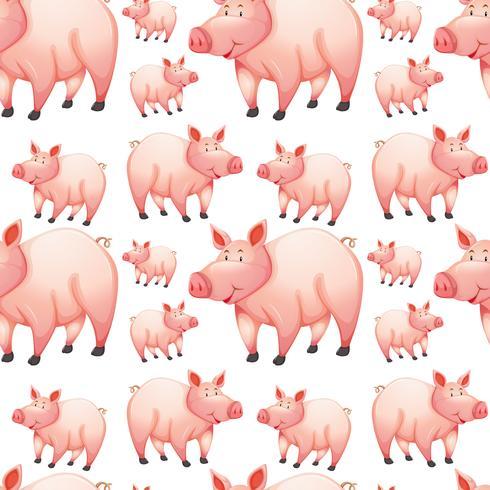 Plano de fundo sem emenda com porcos da fazenda