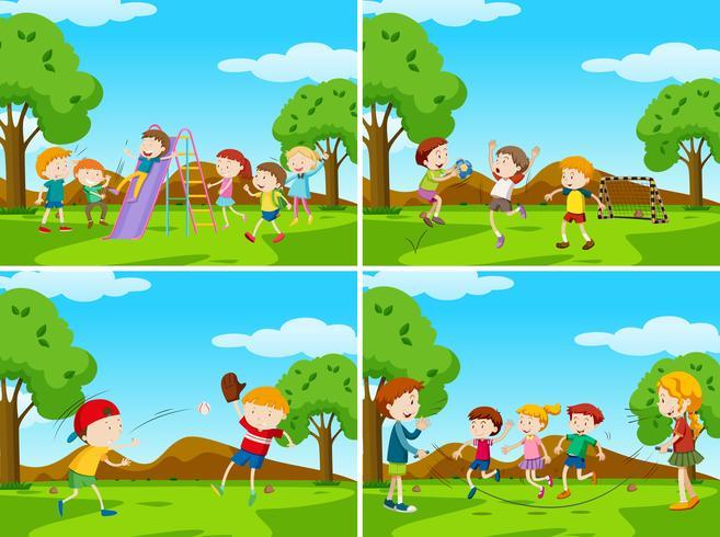 Escenas de juegos con niños jugando deportes