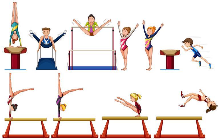 Verschiedene Arten von Gymnastik mit Ausrüstungen