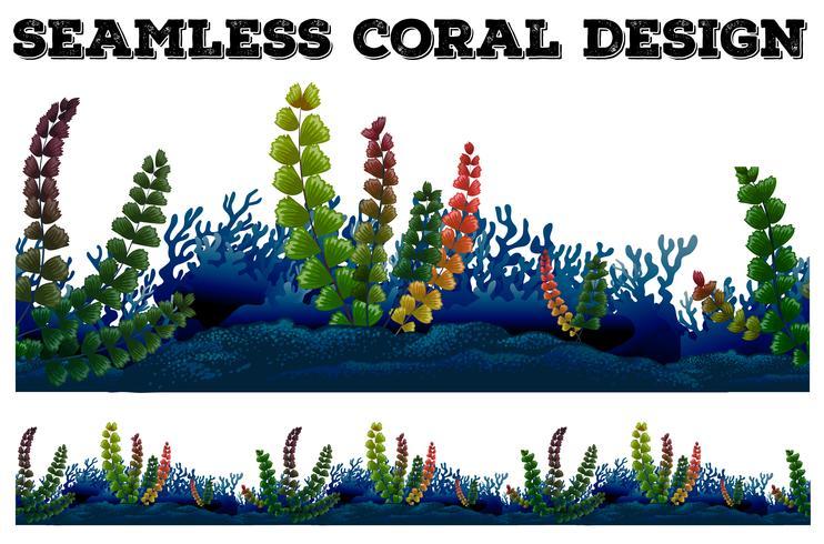 Fundo sem costura com coral e algas