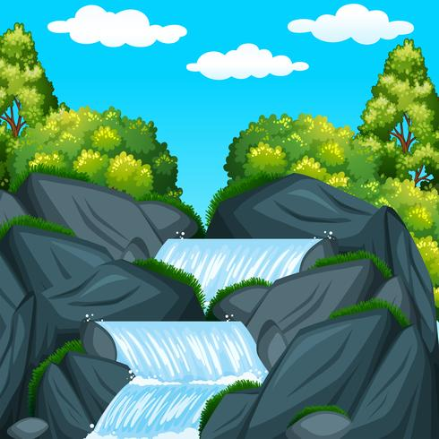 Achtergrondscène met waterval bij dag