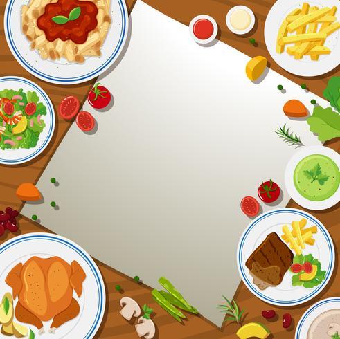 Plantilla de borde con diferentes alimentos en los platos.