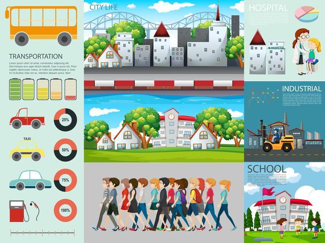 Diseño infográfico con personas y diferentes configuraciones.