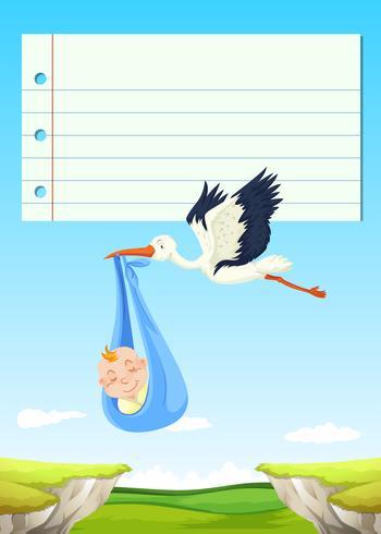 Design de papel com pássaro voando com bebê