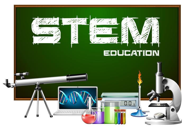 Design de cartaz de educação de haste com equipamentos de ciência