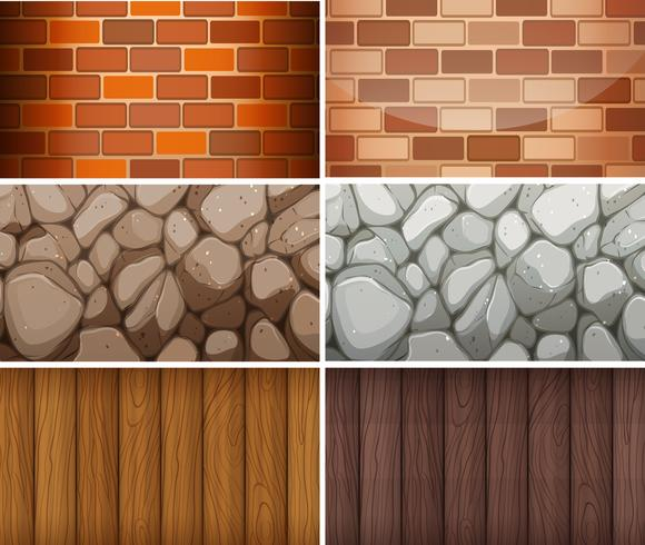 Background pattern with bricks and woods vector