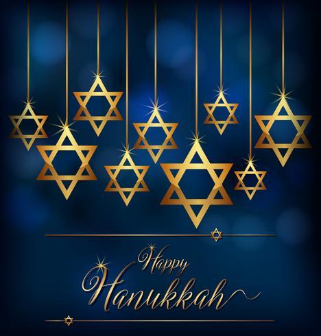 Feliz Hannukkah con el símbolo de estrella de los judíos.