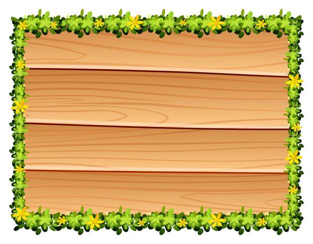 Tavola di legno con decorazione di fiori