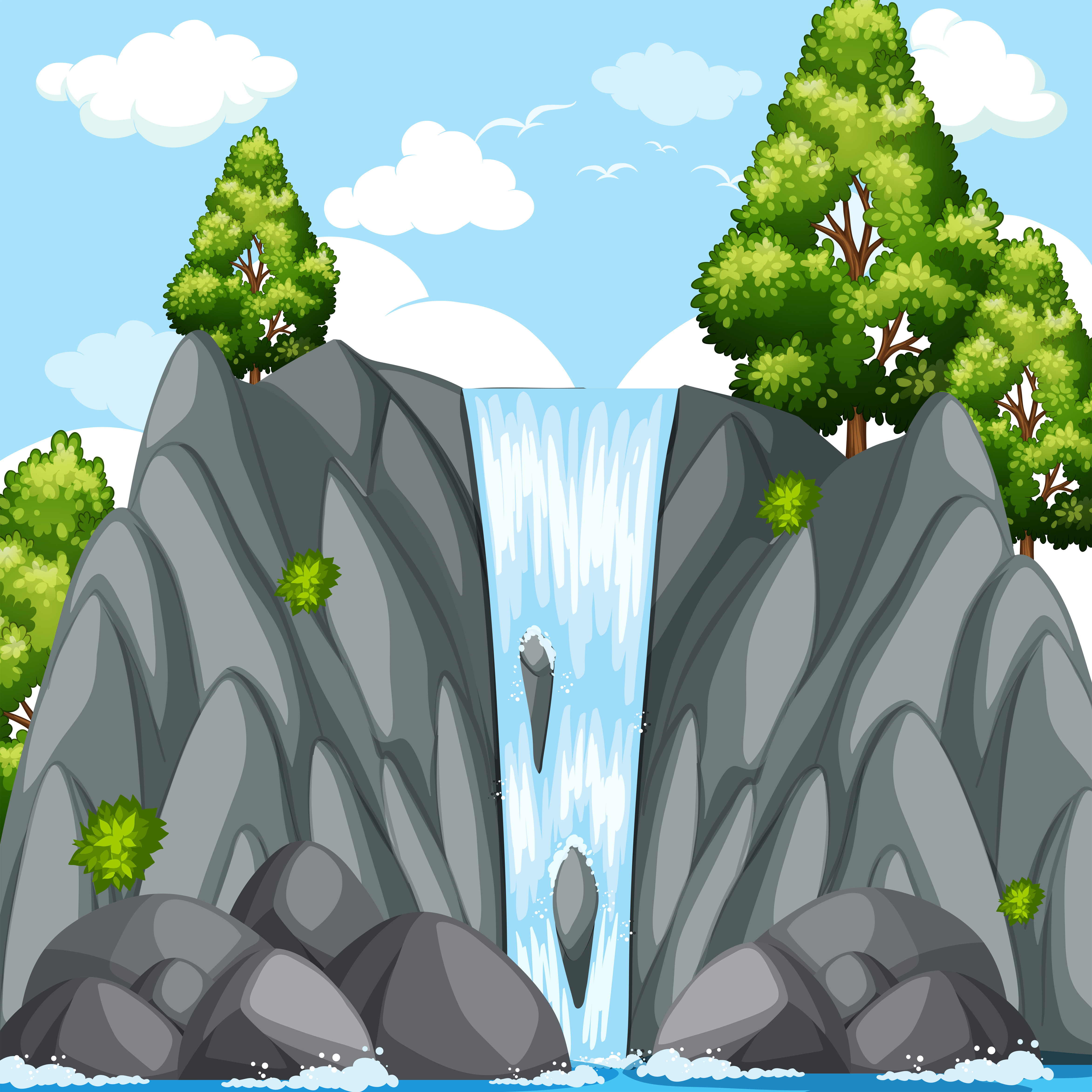 Nature scene with waterfall at daytime - Download Free ...