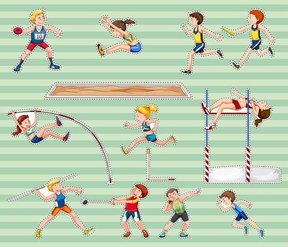 Sticker set for track and field sports vector
