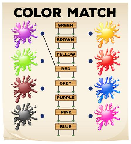 Planilha correspondente com cores e palavras