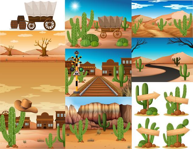 Des scènes de désert avec des cactus et des bâtiments