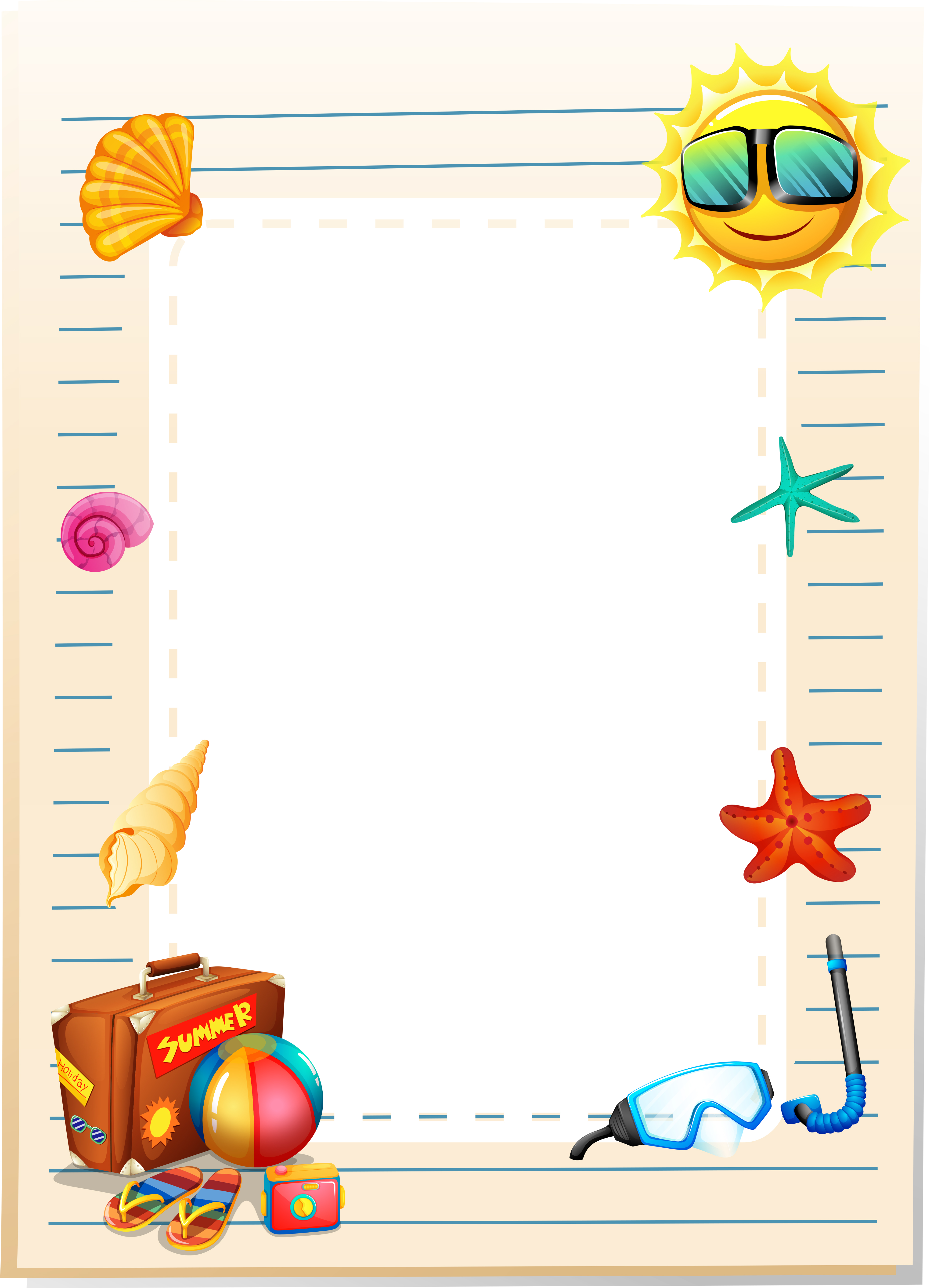 Border design with summer theme - Download Free Vectors ...