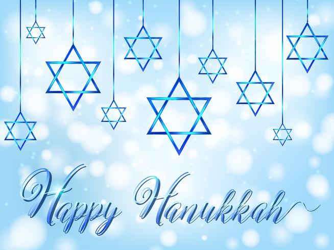 Glücklicher Haunkkah mit Juden Symbol auf blauem Hintergrund
