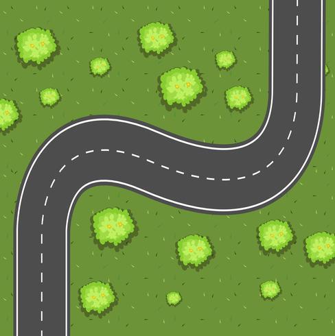 Luchtmening van weg op het groene land