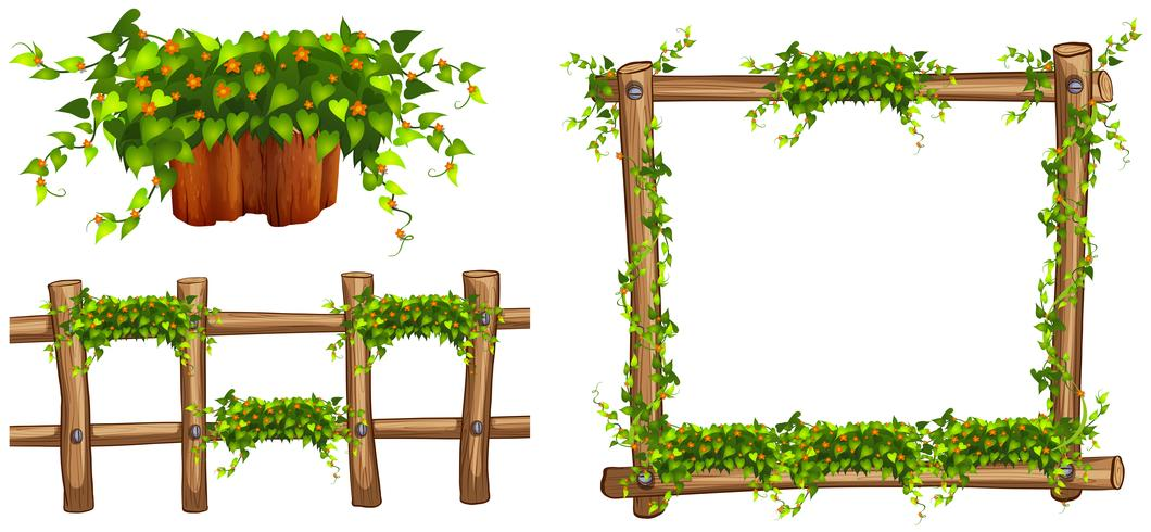 Moldura de madeira e vedação com plantas