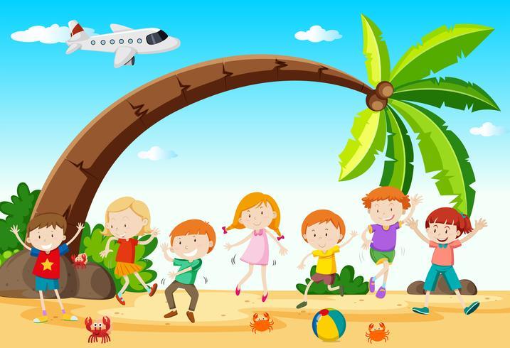 Crianças, dançar, praia