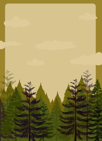 Projeto de fronteira com floresta de pinheiros